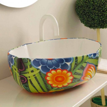 Lavabo sobre encimera de cerámica de diseño, realizado en Italia Oscar