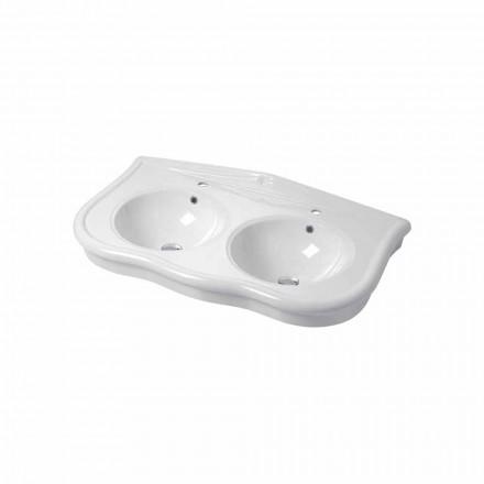Moderno consola o doble lavabo de pared en cerámica Avise.