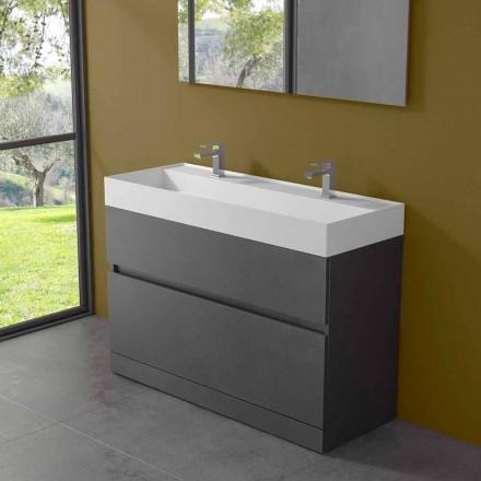 Lavabo doble con mueble de suelo de diseño moderno en laminado - Pompei