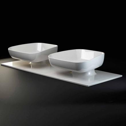 Fregadero doble moderno de la encimera en cerámica hecha en Italia, Reale
