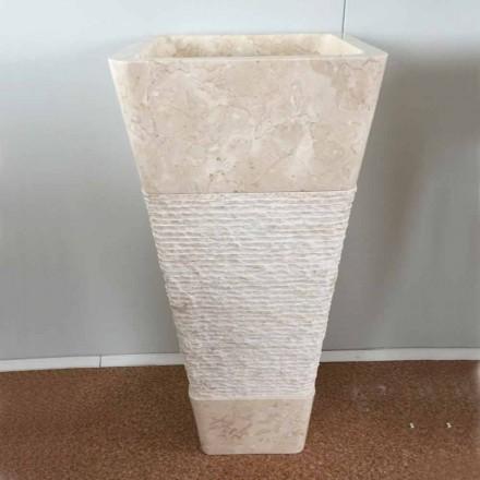 Lavabo en piedra natural, columna Robin, pieza única blanca.