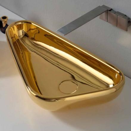 Lavabo sobre encimera moderno en cerámica dorada hecho en Italia Sofía