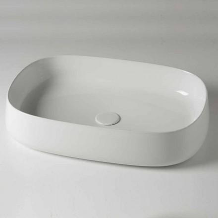 Lavabo sobre encimera ovalado L 60 cm en cerámica moderna Made in Italy - Cordino