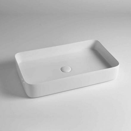 Lavabo sobre encimera rectangular de cerámica coloreada Made in Italy - Dable