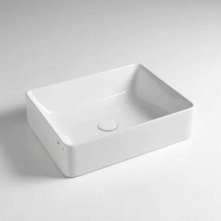 Lavabo sobre encimera rectangular L 50 cm en cerámica Made in Italy - Rotolino