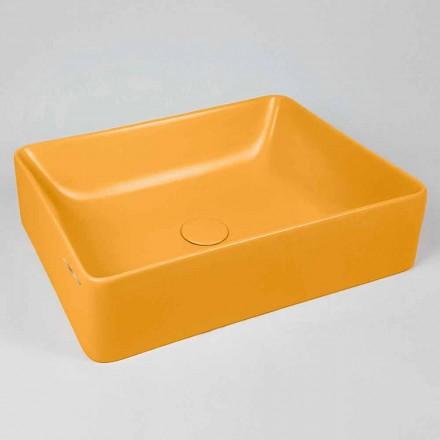Lavabo sobre encimera rectangular L 60 cm en cerámica Made in Italy - Rotolino
