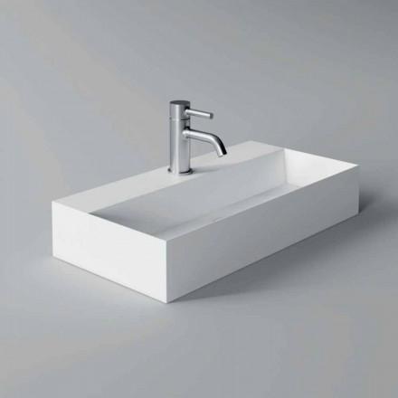 Lavabo moderno rectangular sobre encimera o suspendido 60x30 cm en cerámica - Actuar