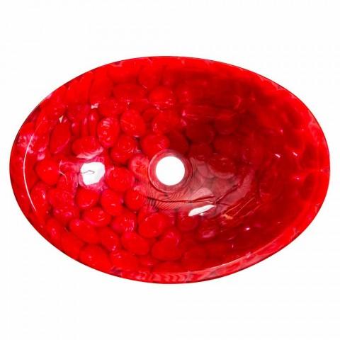 Fregadero de encimera a mano moderno en resina roja, Buscate
