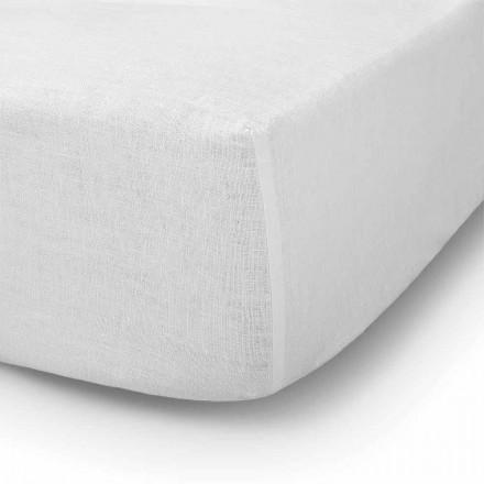 Sábana ajustable en cama doble, individual o grande en lino - Copertino