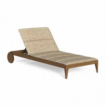 Chaise Longue para exterior de madera con ruedas de lujo - Cruise Teak by Talenti