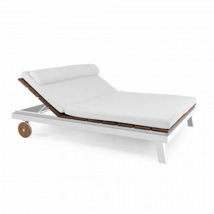 Tumbona de exterior doble o individual en aluminio y madera - Cynthia