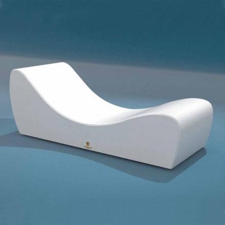 Cama de relajación Onda Trona en ecopiel náutica blanca fabricada en Italia