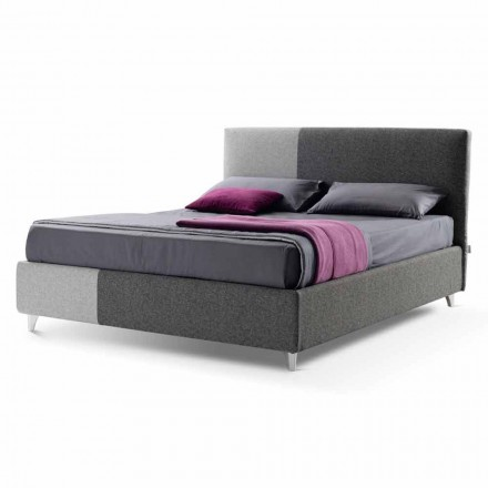 Cama doble con caja en tela bicolor Made in Italy - Jasmine