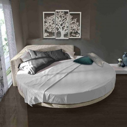Cama doble redonda moderna con cabecera angular Made in Italy - Tima