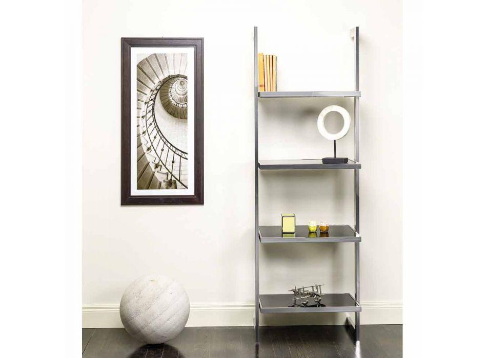 acero de la pared librería y diseño de cristal 60x180x44cm Tafre