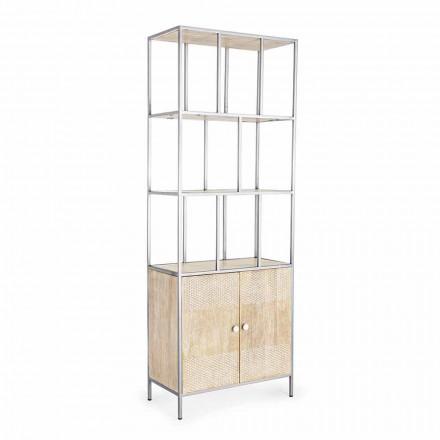 Librería de suelo con estructura en acero cromado y madera Homemotion - Madiz