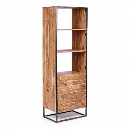 Librería de suelo con estructura en madera de acacia y acero Homemotion - Golia