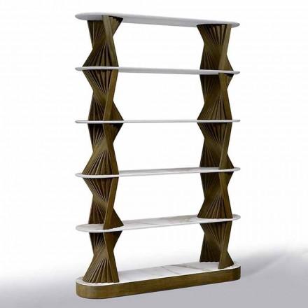 Librería de piso de lujo en madera con tapas de gres Made in Italy - Aspide