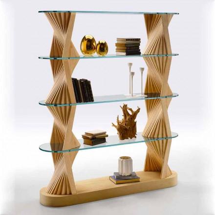 Librería de piso de lujo en vidrio y madera de fresno Made in Italy - Aspide