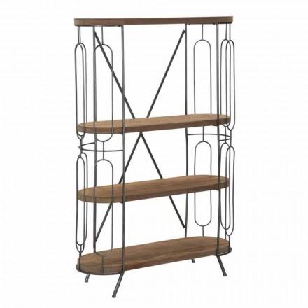 Librería de suelo de diseño moderno en hierro y MDF - Veronique