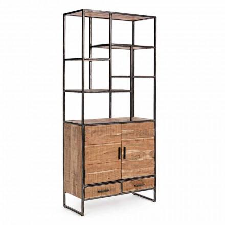 Librería de suelo Homemotion de acero pintado con estantes de madera - Zompo