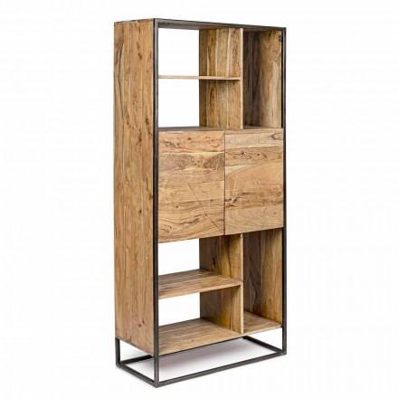 Homemotion - Librería de suelo Goliath en madera de acacia y acero pintado