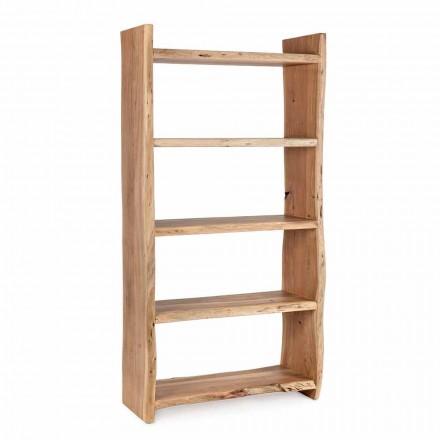 Librería de piso moderno en madera de acacia con 5 estantes Homemotion - Lauro