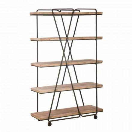 Librería de suelo de diseño de estilo industrial en madera y hierro - Soline