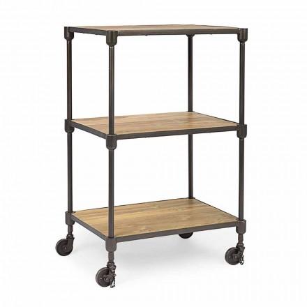 Librería de acero pintado con ruedas y estantes en teca Homemotion - Fulvia