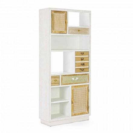 Librería de piso de estilo rústico con estructura de MDF Homemotion - Moiora