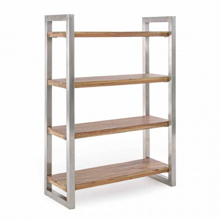 Librería moderna con estructura en acero cromado y madera Homemotion - Lisotta