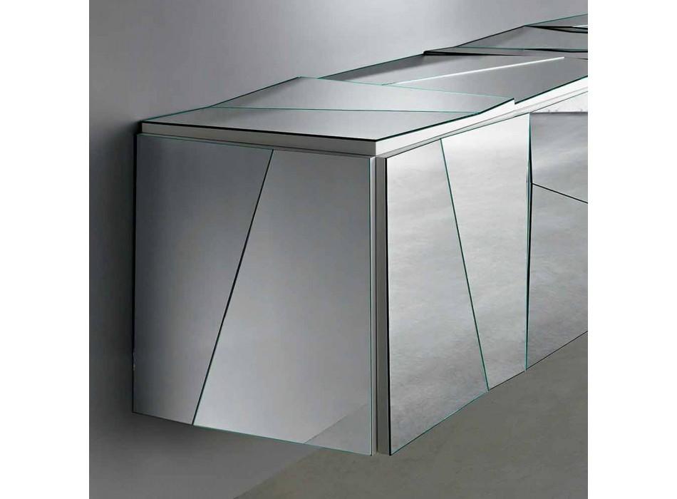 Aparador de pared en madera blanca mate y vidrios espejados - Senese