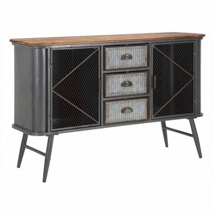Aparador de salón vintage de diseño industrial en hierro y madera - Akimi