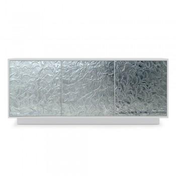 Aparador de salón en madera lacada mate y vidrio Made in Italy - Fiorenza