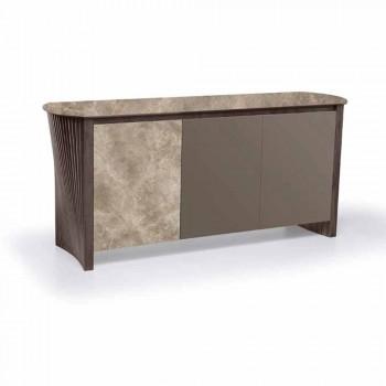 Aparador de diseño en Gres con estructura en madera y Mdf Made in Italy - Cunea