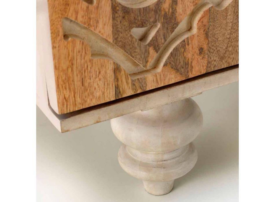 Aparador de diseño étnico de madera de mango pintada, Centola
