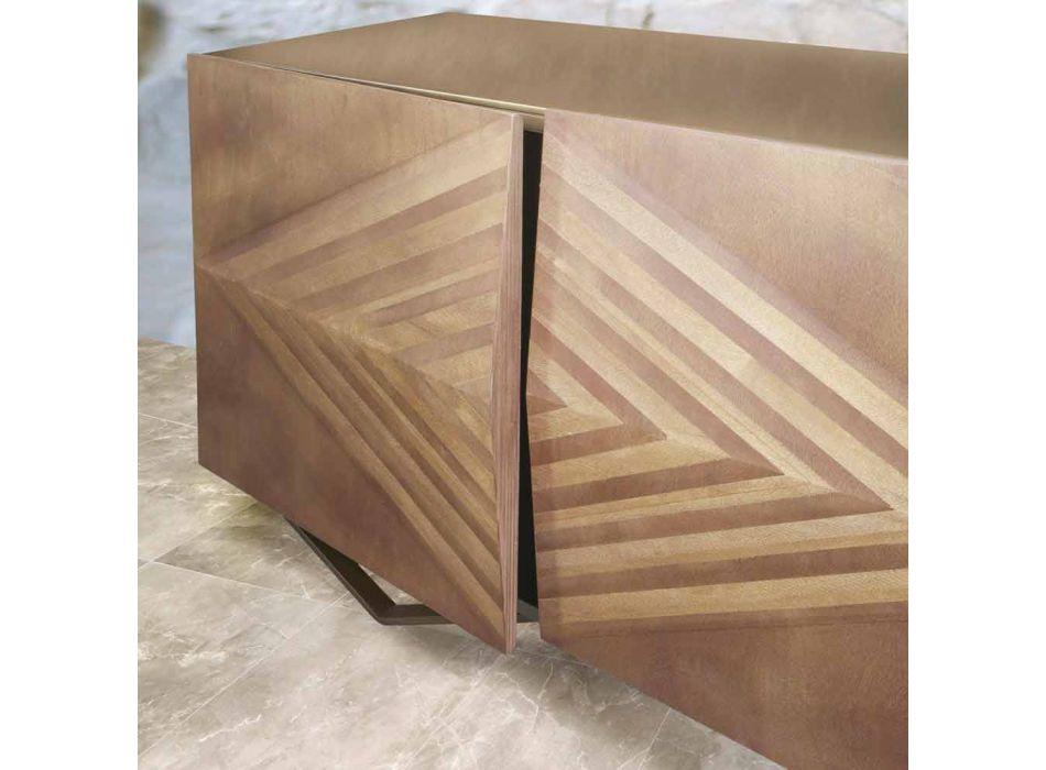 Aparador de madera de 2 o 4 puertas con estantes de cristal Made in Italy - Gardena