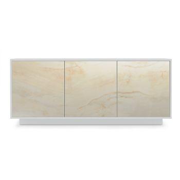 Aparador de madera lacada con 2 o 3 puertas de cerámica Made in Italy - Fiorenza