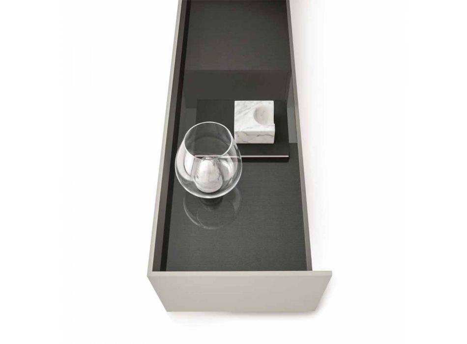 Aparador en MDF con tapa de cristal ahumado y base de metal Made in Italy - Tonic