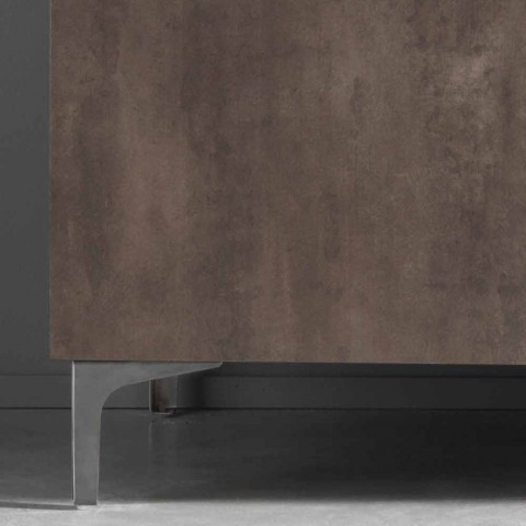 Aparador moderno con tres puertas en bronce o melamina gris Made in Italy - Clemente