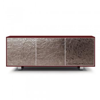 Aparador moderno de madera con 2 o 3 puertas de vidrio Made in Italy - Fiorenza
