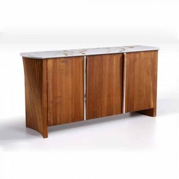 Aparador moderno de madera con tapa y puerta en mármol Gres Made in Italy - Wonka