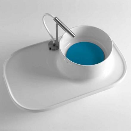 Estante con lavabo integrado en cerámica blanca brillante Hecho en Italia - Uber