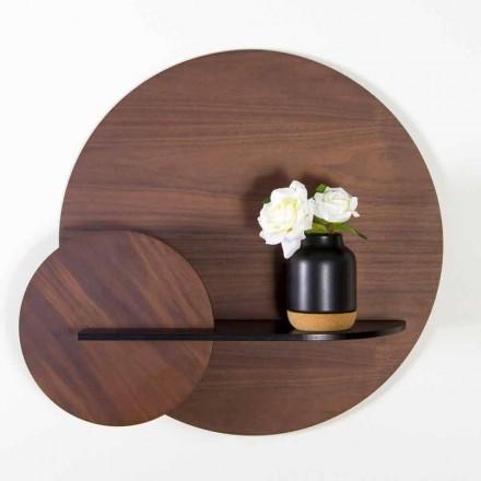 Estantería modular moderna de madera contrachapada pintada de nogal y negro - Amena