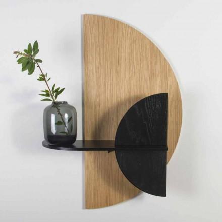 Estantería modular de diseño moderno en roble y contrachapado pintado de negro - Arabia