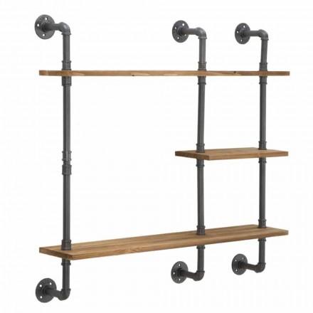 Estantes de pared de estilo industrial y moderno en hierro y madera - Katrine