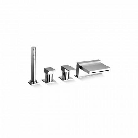 Mezclador de bañera de 4 orificios con caño en cascada Made in Italy - Panela