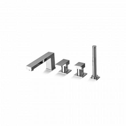 Mezclador de bañera con 4 orificios de latón de diseño Made in Italy - Panela