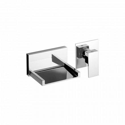 Mezclador de lavabo de pared moderno con caño en cascada Made in Italy - Bibo