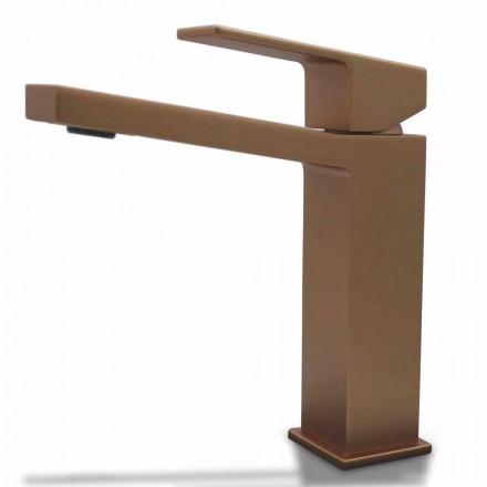 Mezclador de lavabo moderno en diseño cuadrado de latón cromado o coloreado - Zago